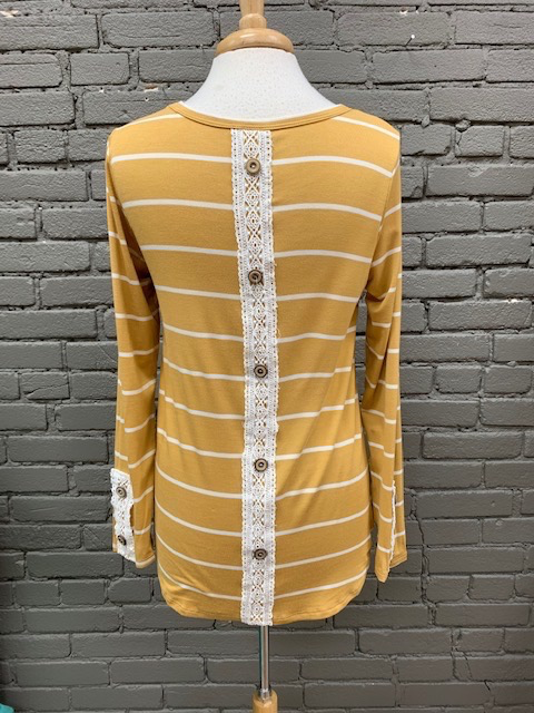 Long Sleeve Mustard Stripe LS Crochet Detail