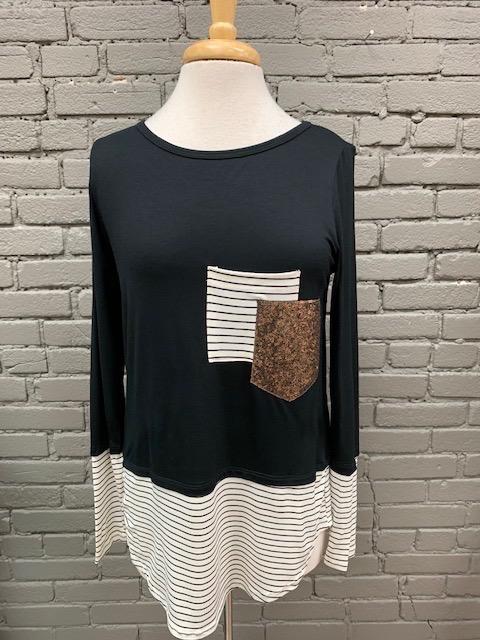 Long Sleeve Black Stripe Sequin LS