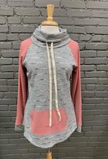 Long Sleeve Gray Pink Stripe Cowl LS