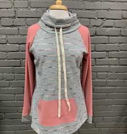 Long Sleeve Gray Pink Stripe Cowl LS