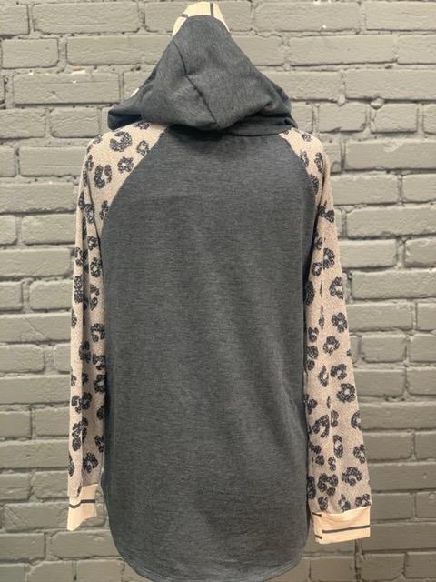 Hoodie Charcoal Double Hoodie w/ Leopard Sleeves
