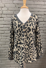 Long Sleeve Mocha Leopard Puff Sleeve