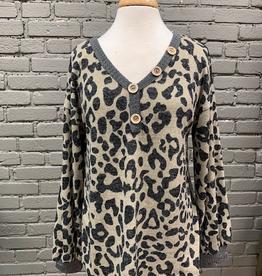 Long Sleeve Mocha Leopard Puff Sleeve