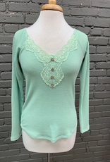 Long Sleeve Mint Lace Ribbed LS