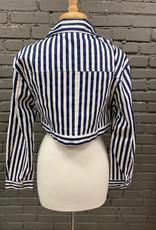 Jacket Navy Stripe Crop Button Jacket