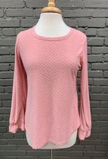 Long Sleeve Pink Textured Ruffle LS