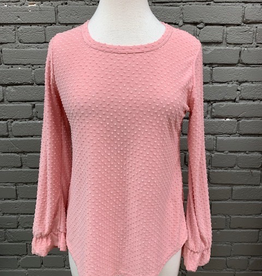 Long Sleeve Pink Textured Ruffle LS