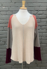 Long Sleeve Oatmeal Waffle Top w/ Color Block Sleeves