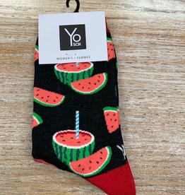 Socks Women's Crew Socks, Watermelon w/ Straw