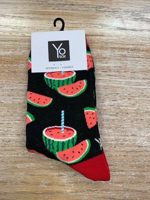 Socks Women's Crew Socks, Watermelon w/ Straw
