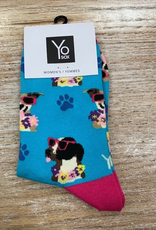 Socks Women's Crew Socks, Dogs w/ Flowers