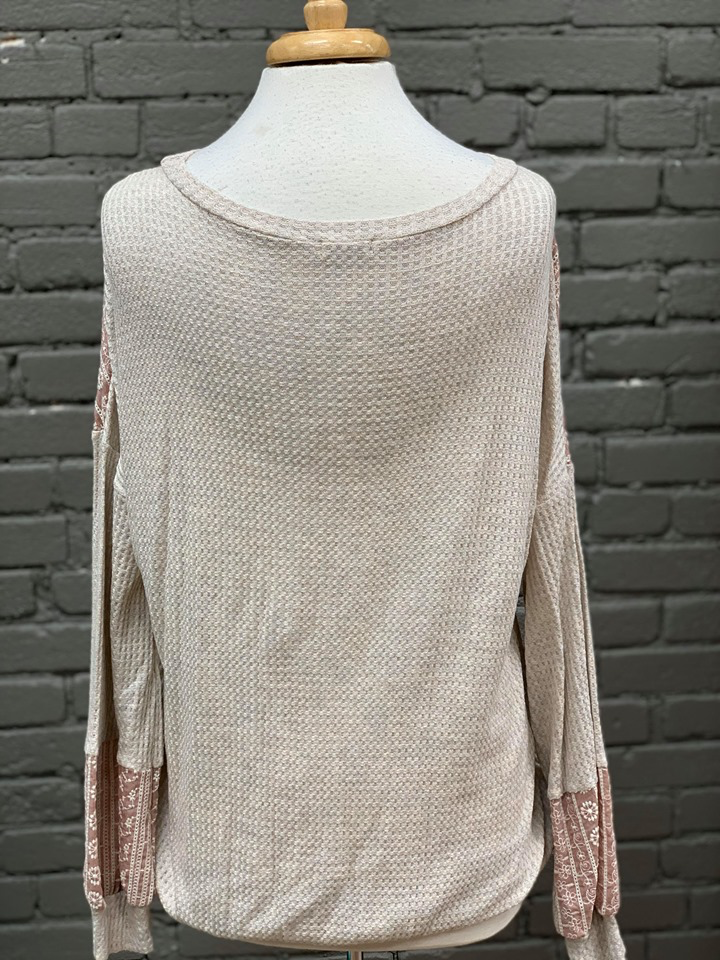 Long Sleeve Oatmeal Waffle Top w/ Blush Embroidery
