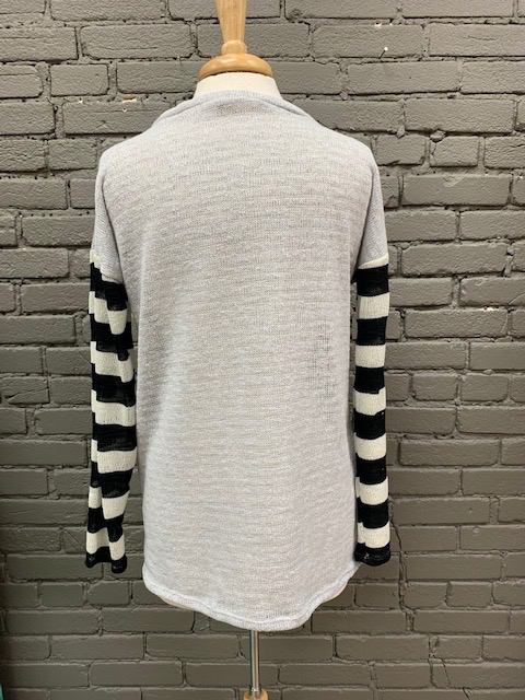Long Sleeve Light Grey V Neck LS w/ Stripe Sleeves