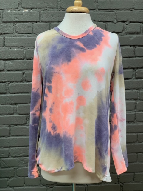 Long Sleeve Tie Dye Knit LS Top