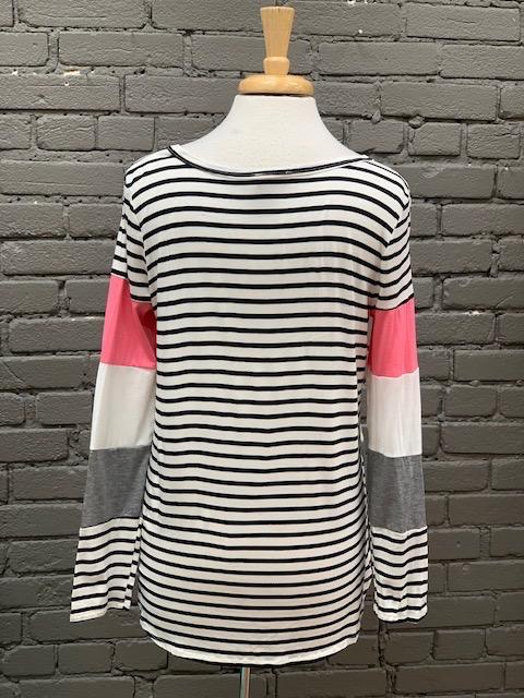 Long Sleeve Multi Color Stripe & Color Block Top