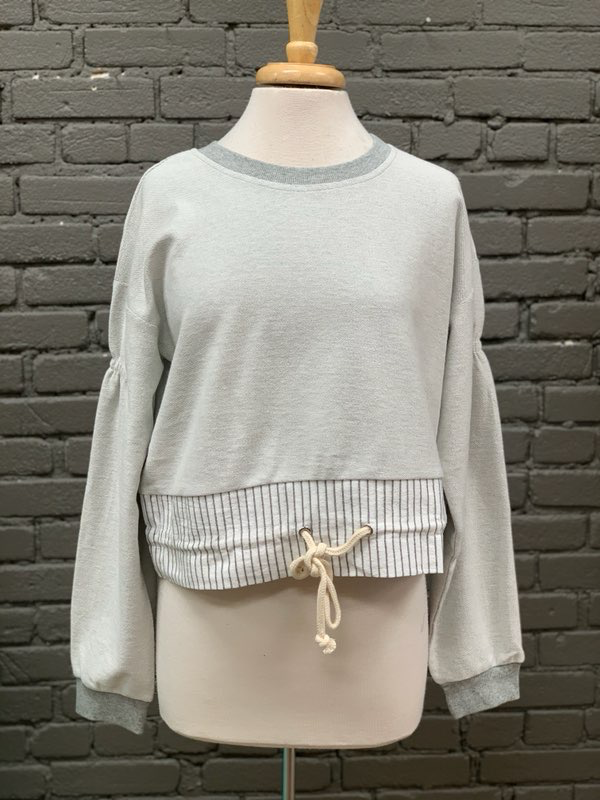 Long Sleeve Grey Cropped Sweatshirt