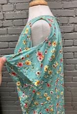 Top Mint Floral Cold Shoulder Twist Hem