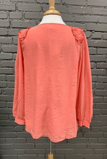 Long Sleeve Coral LS Ruffle Detail