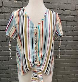 Shirt Stripe Button Tie Shirt