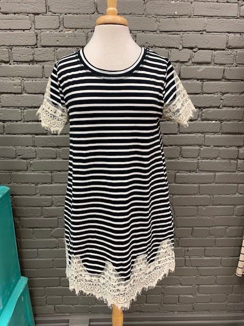 Dress Black Stripe Lace Pocket Dress