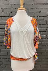Top Natural Knit Top Print Sleeves Ties