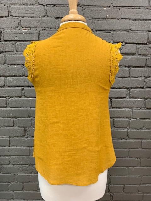 Top Mustard Lace Pintuck Top