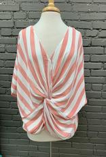 Top Stripe Dolman Sleeve Twist Top