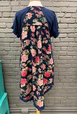 Dress Navy Floral Back HiLo Dress