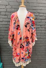 Kimono Peach Floral Tassel Kimono