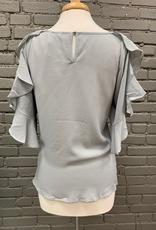 Top Gray Ruffle Cold Shoulder Tie Top