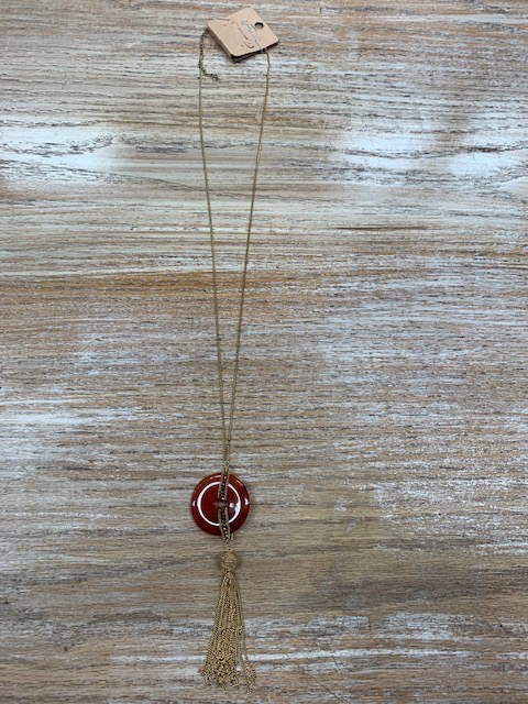 Jewelry Gold Gem Circle Tassel Necklace