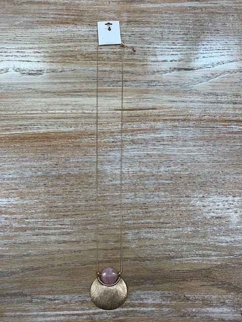 Jewelry Gold Pendant Pink Gem Necklace