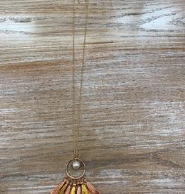 Jewelry Gold Pearl Multi Tassel Circle Neckalce