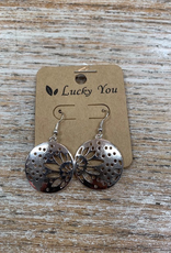 Jewelry Silver Flower Disc Earrings