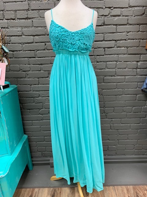 Dress Teal Lace Top Maxi Dress