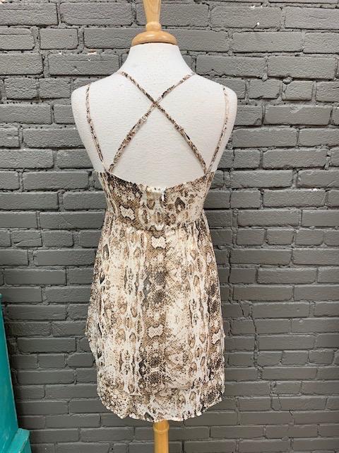 Dress Snakeskin Woven Top Dress