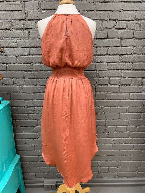 Dress Brick Halter Smock Dress