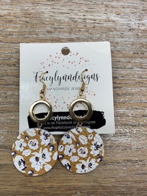 Jewelry TLD Mustard Navy Floral Metal Earrings