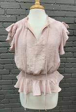 Top Mauve Ruffled Smock Top