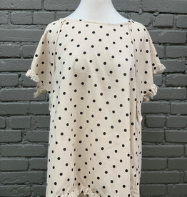 Shirt Polka Dot Shirt W/ Ruffled Hem