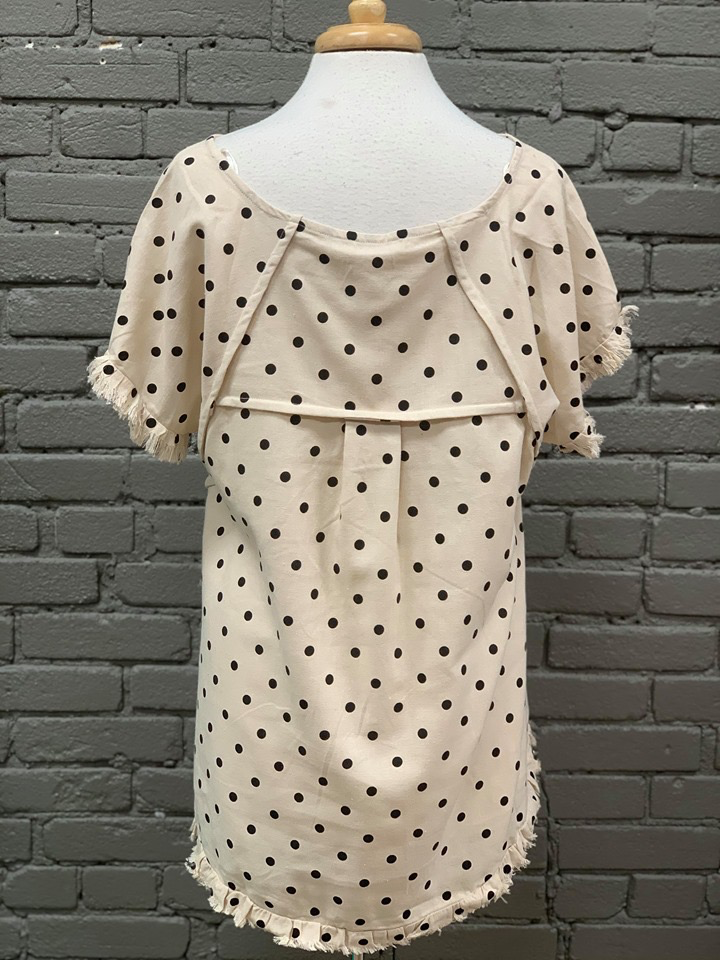 Shirt Polka Dot Shirt W/ Ruffled Hem