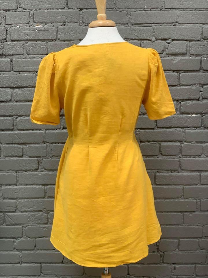 Dress Mustard Dress w/ Button Front