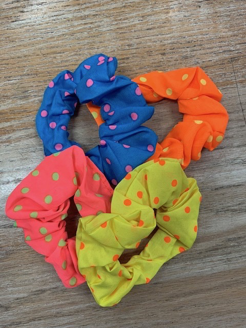 Beauty Neon Polka Dot Scrunchy