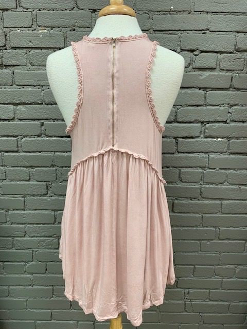Tank Blush Babydoll Zip Back Tank