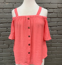 Top Coral Open Shoulder Button Top