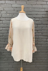 Top Floral Sleeve Natural Top