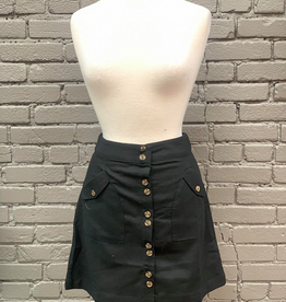 Skirt Black Button Skirt