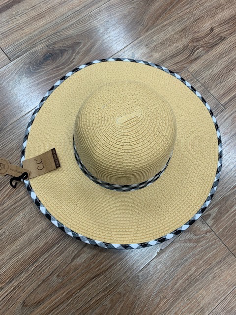 Hat CC Gingham Straw Hat
