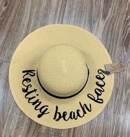Hat CC Straw Hat Resting Beach Face