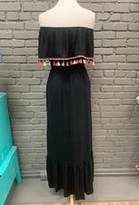Dress Black OTS Fringe Maxi Dress